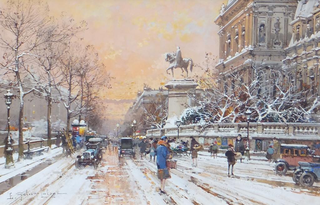 Eugene Galien-Laloue - Quai de l'Hotel de Ville sos la neige
