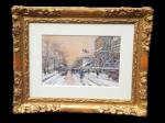 Eugene Galien-Laloue - Quai de l'Hotel de Ville sos la neige framed